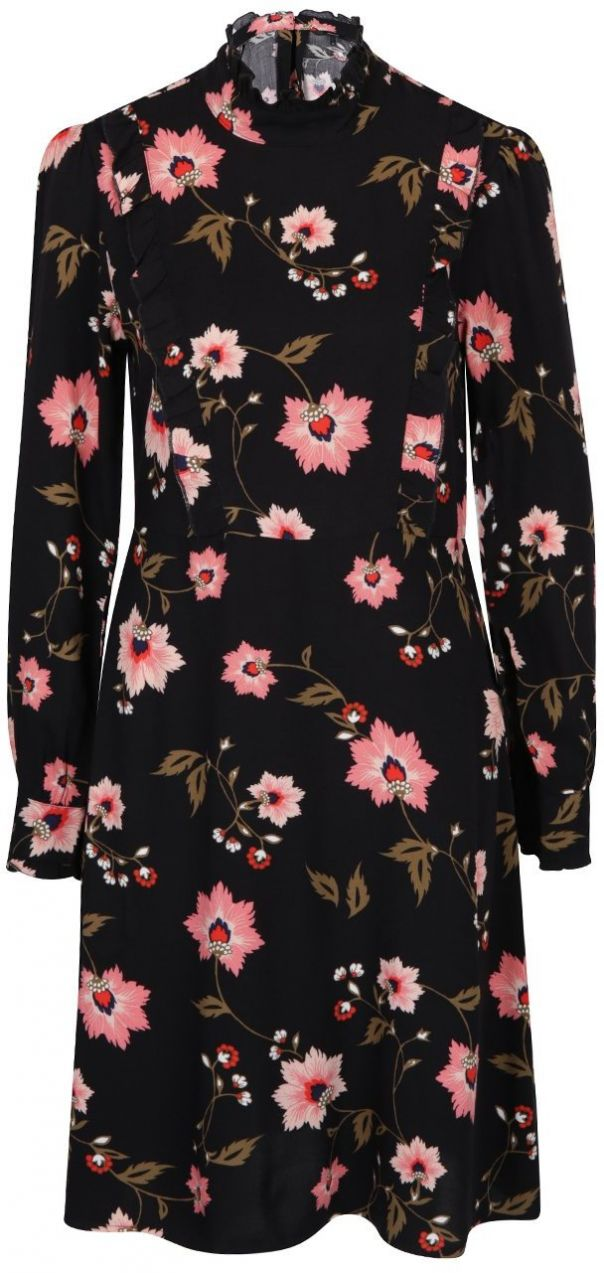 Čierne kvetované šaty s dlhým rukávom VERO MODA Nadia značky Vero Moda -  Lovely.sk 04c0f881420