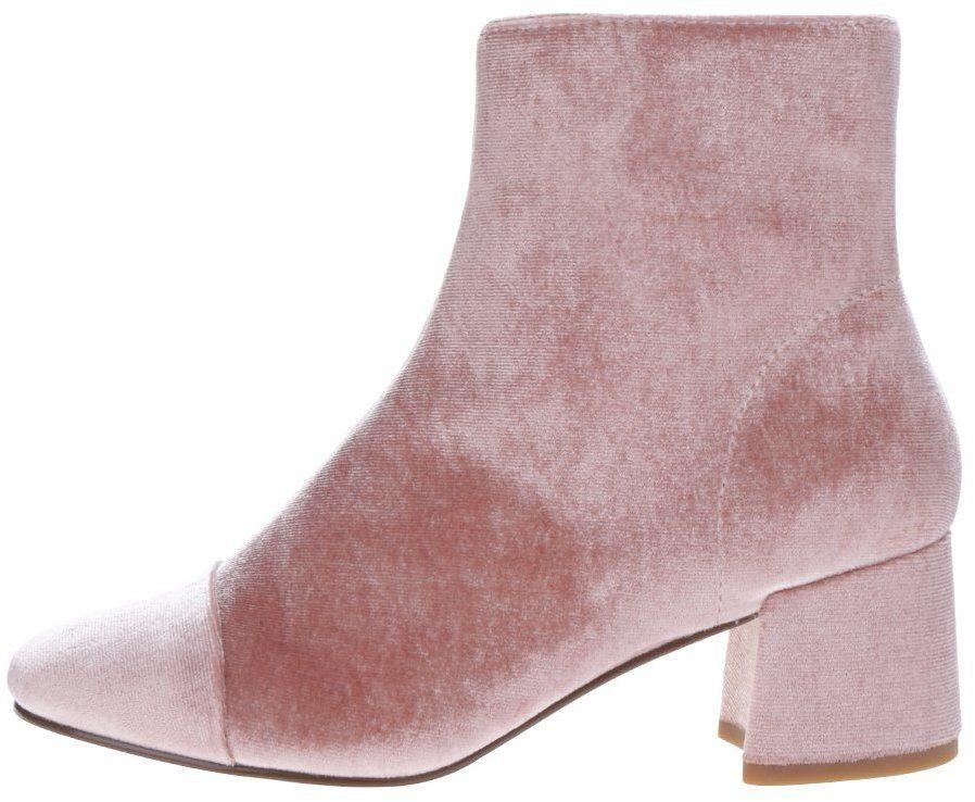 c6547d2eb725 Ružové zamatové členkové topánky Miss Selfridge značky Miss Selfridge -  Lovely.sk