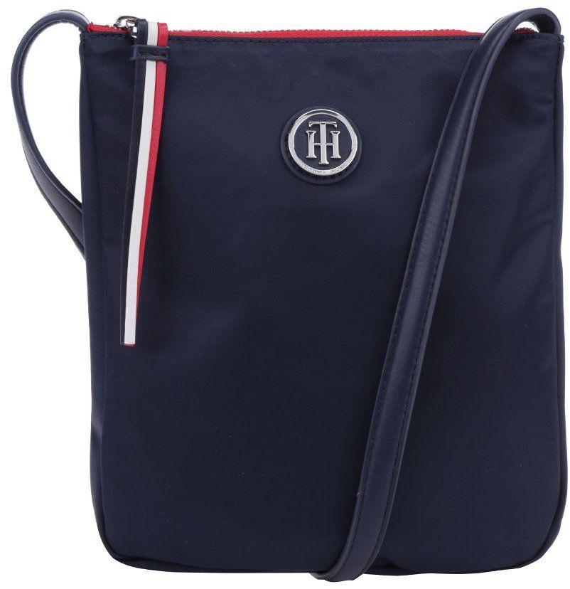 d7c2642b7d Tmavomodrá crossbody kabelka s detailmi v striebornej farbe Tommy Hilfiger  Poppy Flat značky Tommy Hilfiger - Lovely.sk