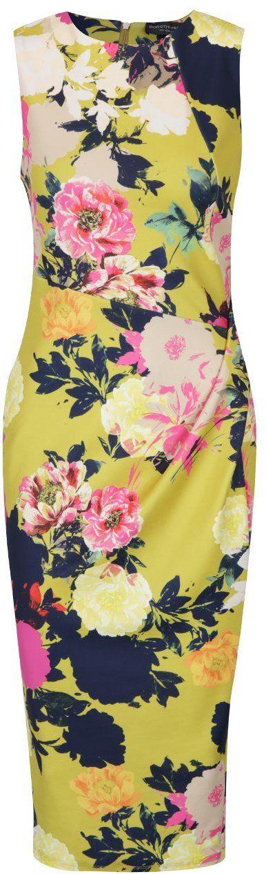 3d983e1d2e56 Ružovo-žlté kvetované puzdrové šaty s riasením na boku Dorothy Perkins Tall  značky Dorothy Perkins Tall - Lovely.sk