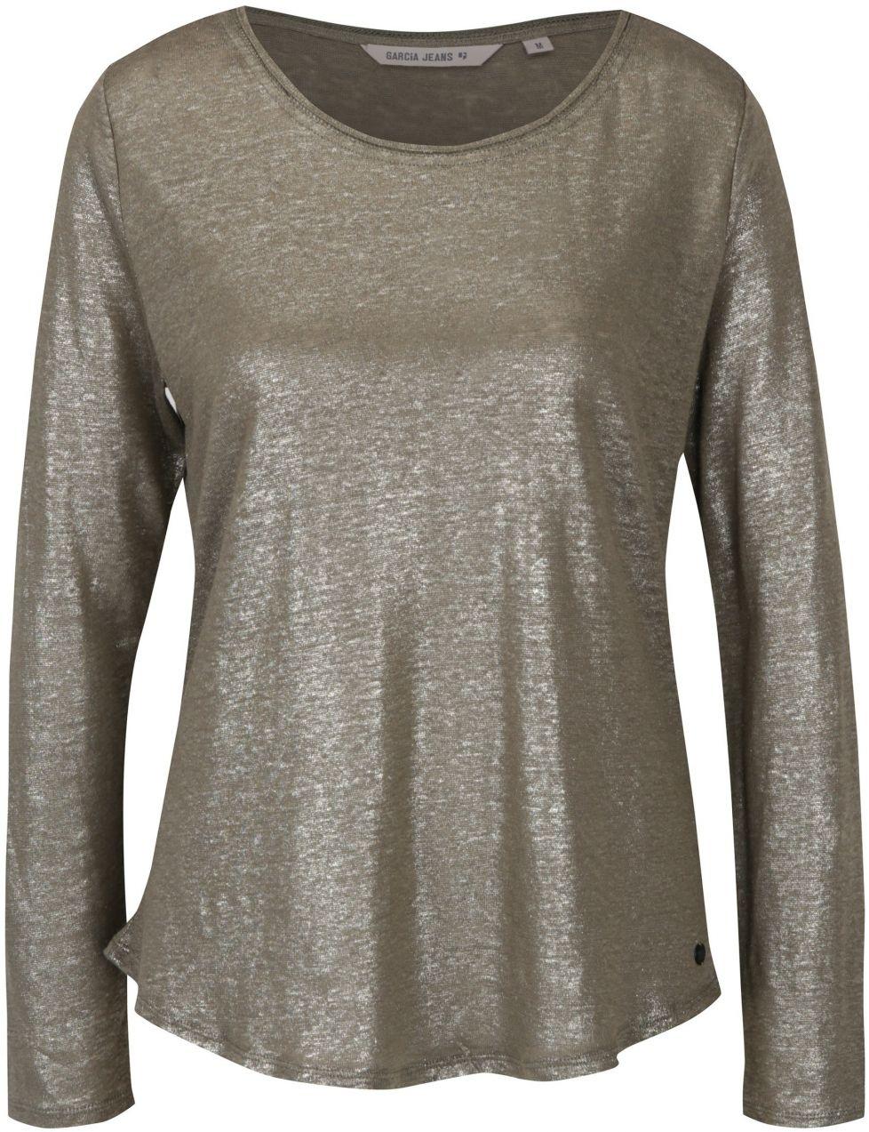 b7eace881 Kaki dámske ľanové tričko s metalickými odleskami Garcia Jeans značky Garcia  Jeans - Lovely.sk