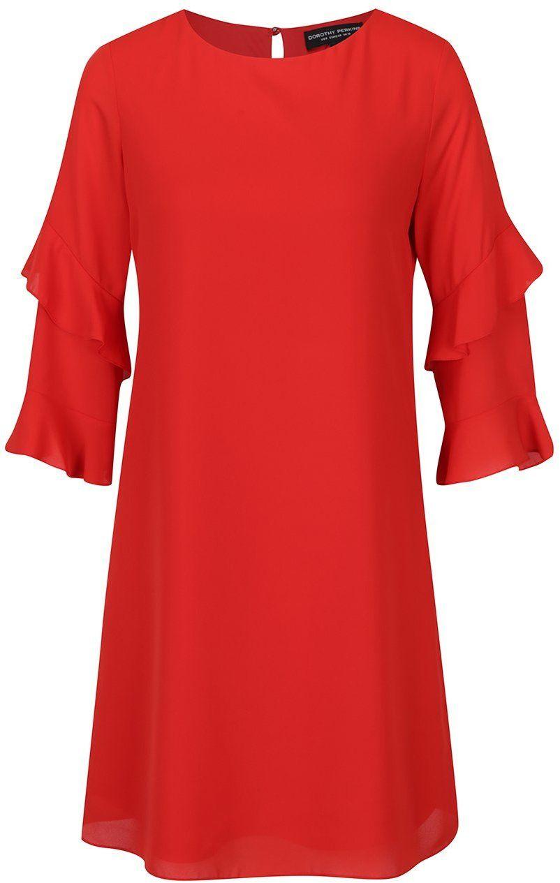 cc0b97060775 Červené šaty s volánmi na rukávoch Dorothy Perkins značky Dorothy Perkins -  Lovely.sk