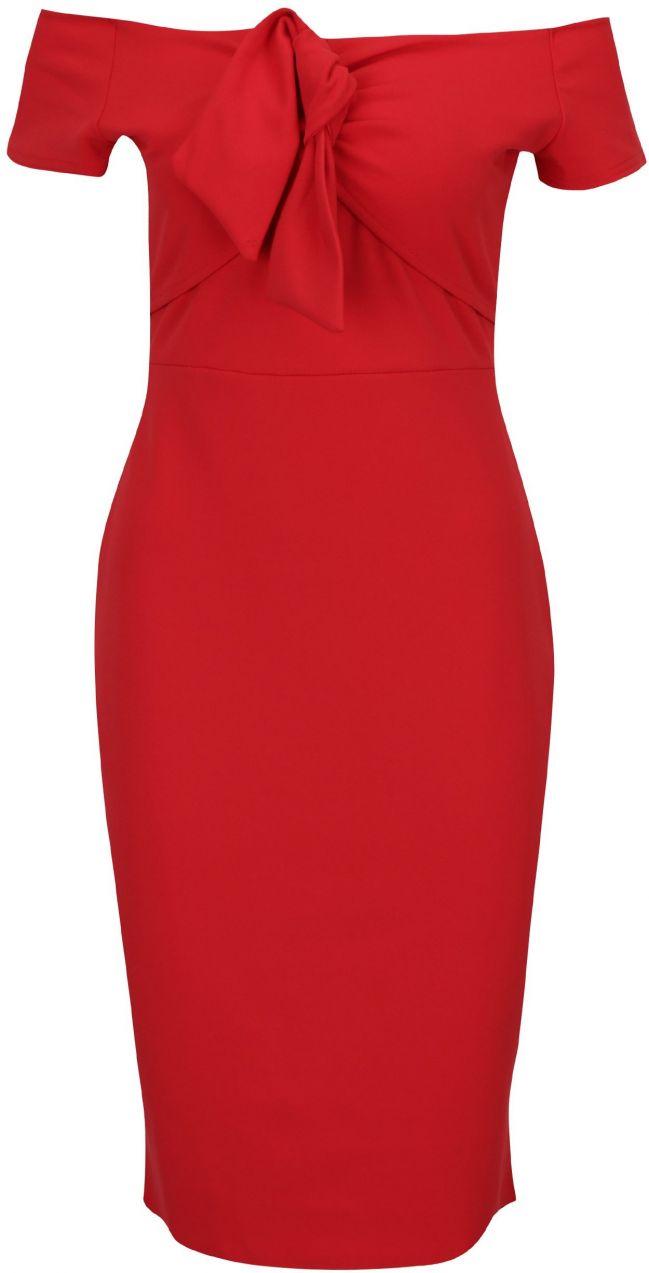 Červené puzdrové šaty s odhalenými ramenami Dorothy Perkins značky Dorothy  Perkins - Lovely.sk 7c7e15275fe