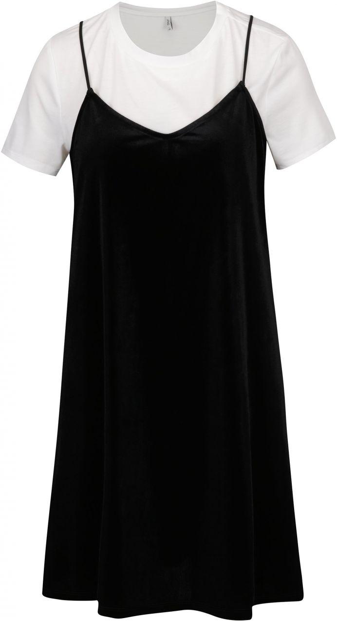 18e04892d61a Čierne zamatové šaty s všitým tričkom ONLY Tara značky ONLY - Lovely.sk