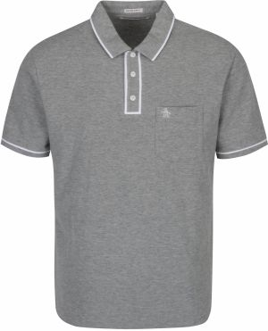 Sivé slim fit polo tričko s náprsným vreckom Original Penguin The Earl