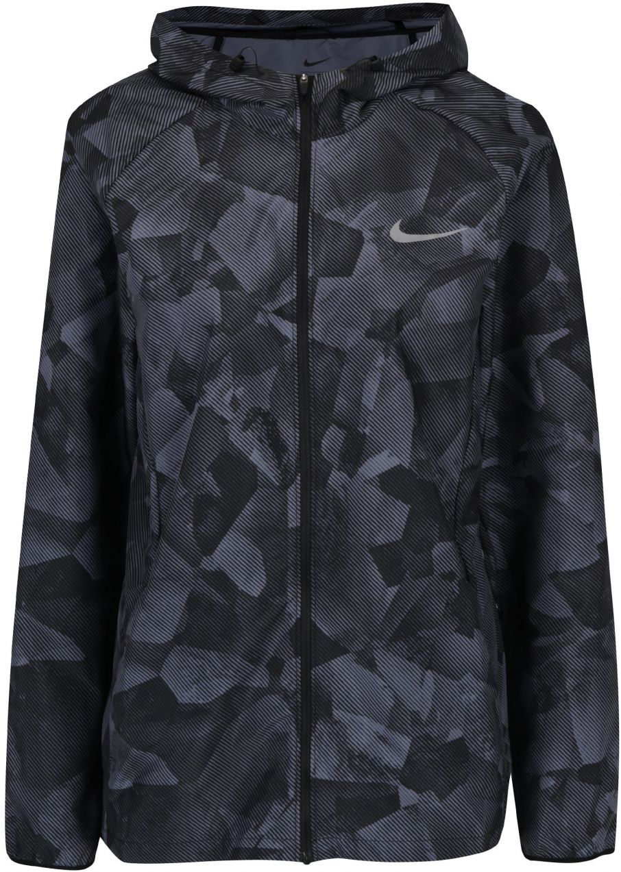 Sivo-čierna dámska vzorovaná tenká funkčná bunda s kapucňu Nike značky Nike  - Lovely.sk e54b3100c60
