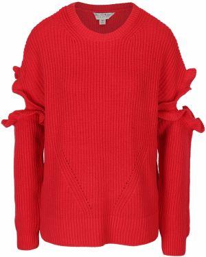 c96eee592b Červený sveter s prestrihmi na rukávoch Miss Selfridge