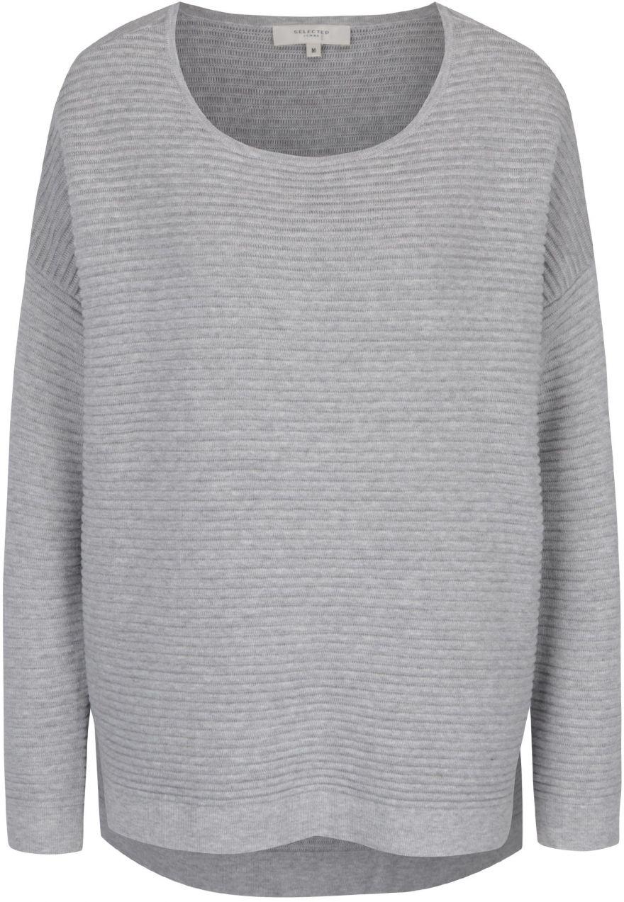 1e2b94946056 Svetlosivý rebrovaný sveter Selected Femme Laua značky Selected ...