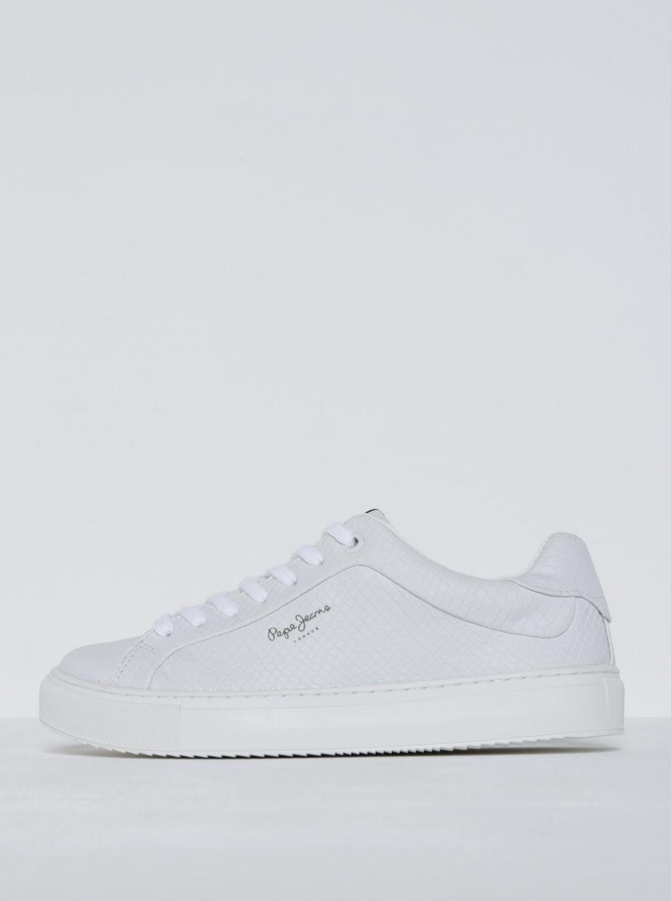 Biele dámske tenisky so štruktúrovaným vzorom Pepe Jeans Adams Samy značky  Pepe Jeans - Lovely.sk 784e489da62