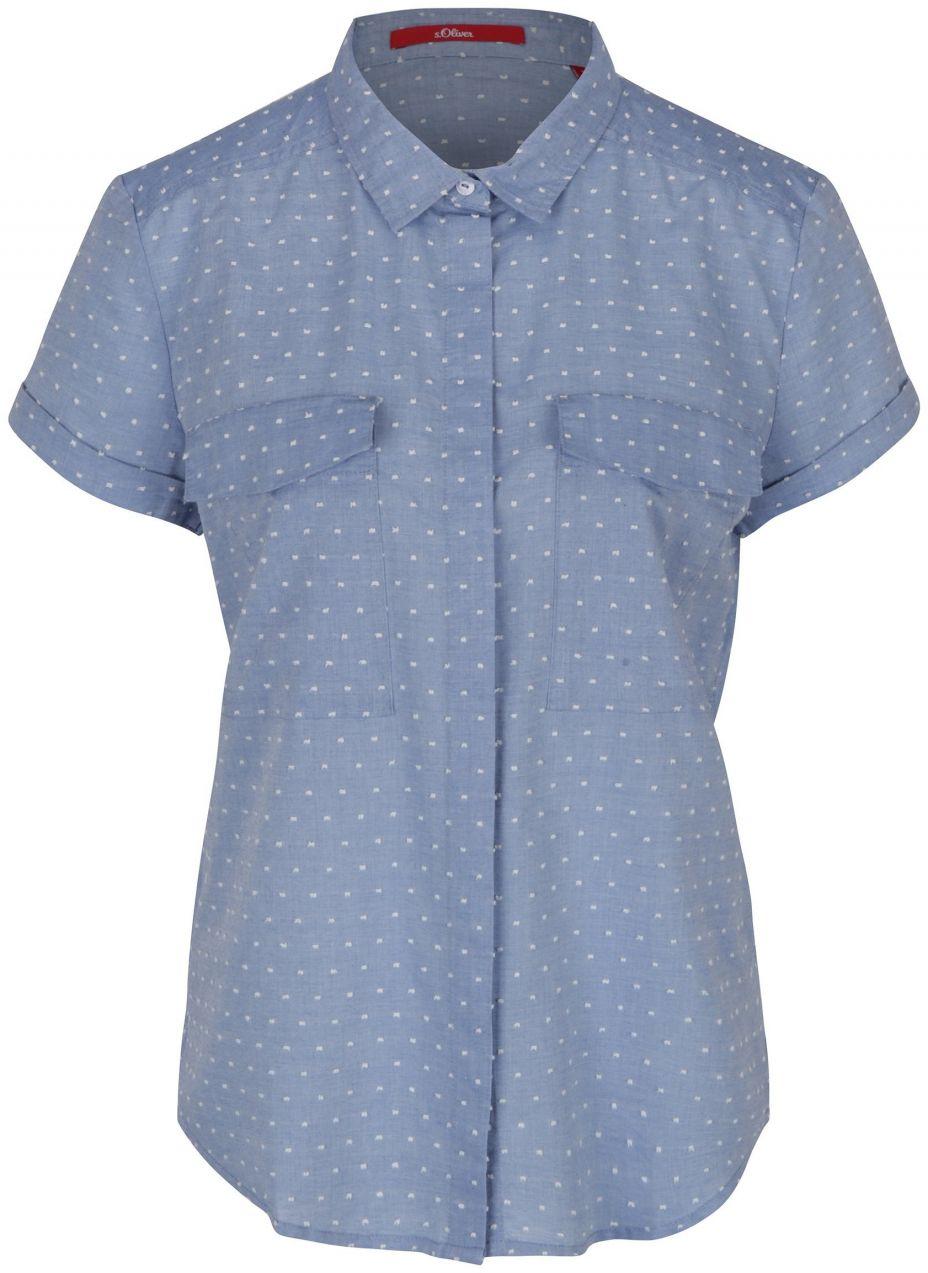 2d09026cec0e Modrá dámska bodkovaná košeľa s vreckami s.Oliver značky s.Oliver -  Lovely.sk