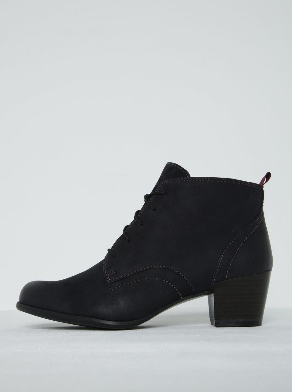 2f15a19ea1ae2 Tmavomodré kožené členkové topánky na podpätku Tamaris značky Tamaris -  Lovely.sk