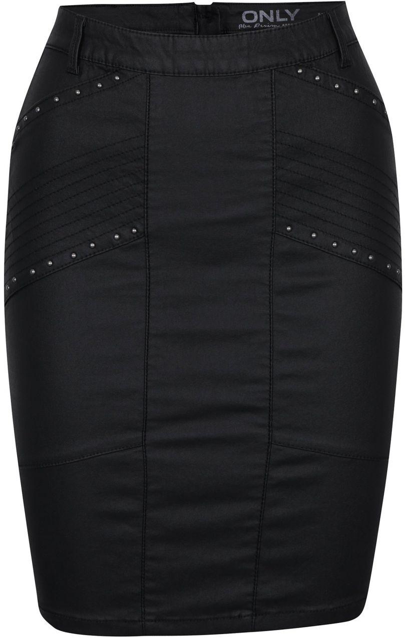 94d6e7e68e4c Čierna koženková sukňa s ozdobnými plastickými detailmi ONLY Tough Rock  značky ONLY - Lovely.sk