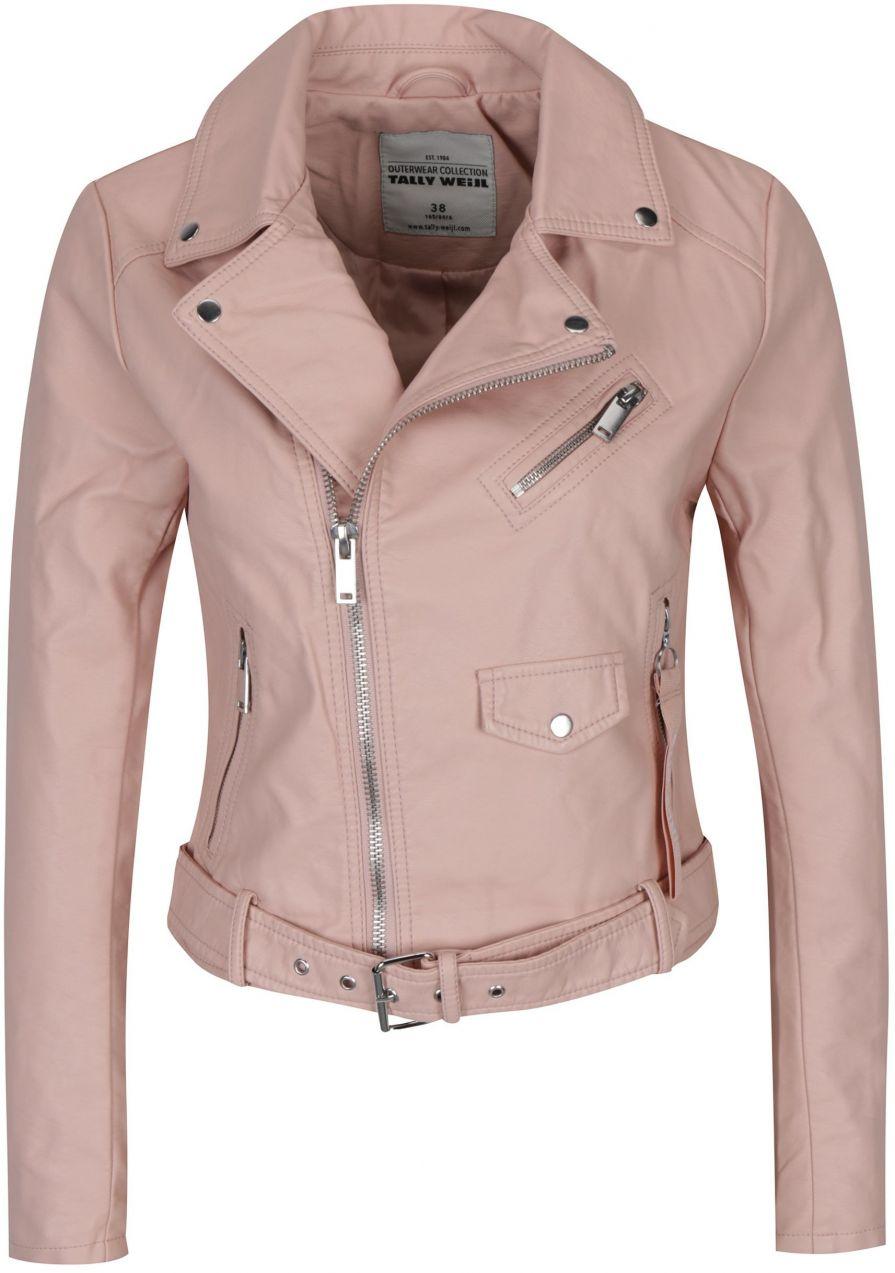 Svetloružová koženková bunda s opaskom TALLY WEiJl značky TALLY WEiJL -  Lovely.sk 1d32e43bba2