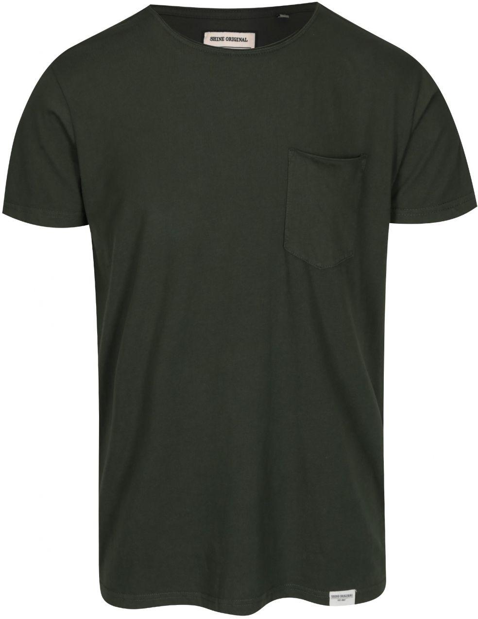 6fbb6e726b4f Tmavozelené tričko s vreckom Shine Original Andy značky Shine Original -  Lovely.sk