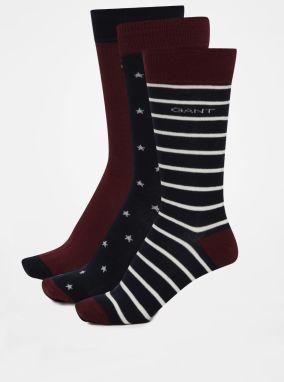 Súprava troch párov vínovo-modrých pánskych vzorovaných ponožiek GANT 5164bee6a2