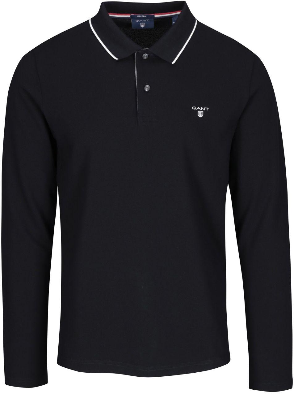 50514762208 Čierne pánske polo tričko s dlhým rukávom GANT značky Gant - Lovely.sk