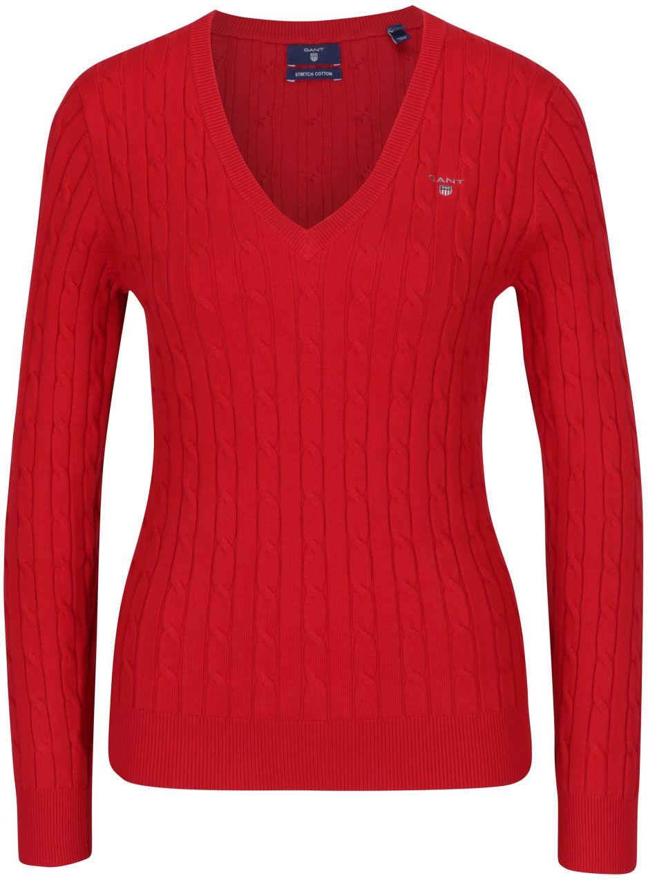 676a75ed370e Červený dámsky sveter s véčkovým výstrihom GANT značky Gant - Lovely.sk