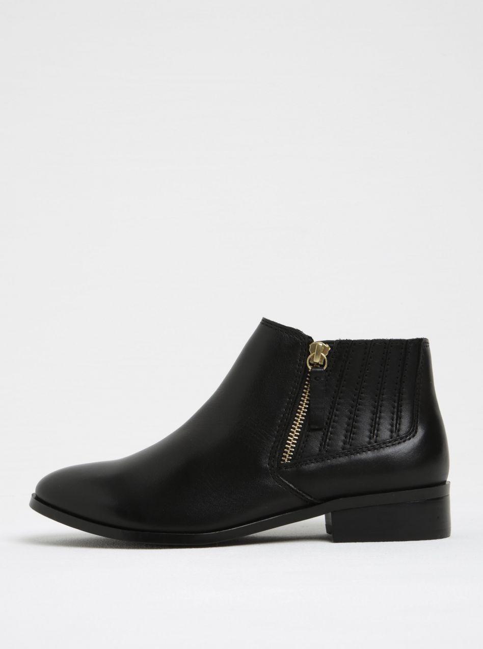 2833da90b Čierne dámske kožené členkové topánky so zipsom v zlatej farbe ALDO Taliyah  značky ALDO - Lovely.sk