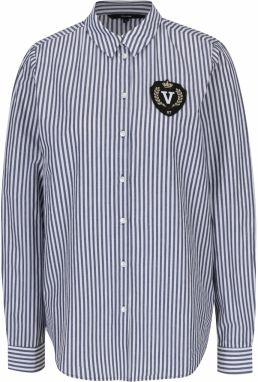 68f0b8b58e9c Tmavomodrá voľnejšia košeľa s 3 4 rukávmi a jemným vzorom Vero Moda ...