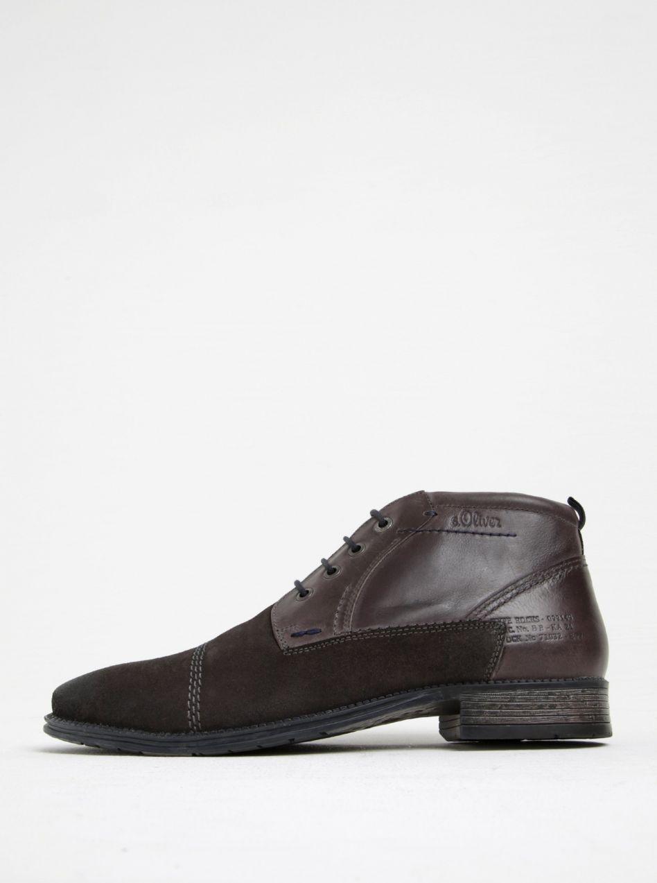 ff2018c902c29 Sivé pánske kožené členkové topánky s.Oliver značky s.Oliver - Lovely.sk