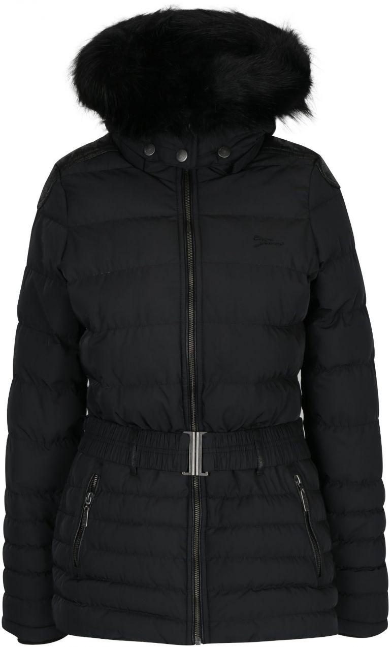 98e4640399201 Čierny dámsky krátky prešívaný kabát s kapucňou a opaskom Cars Cler značky  Cars - Lovely.sk