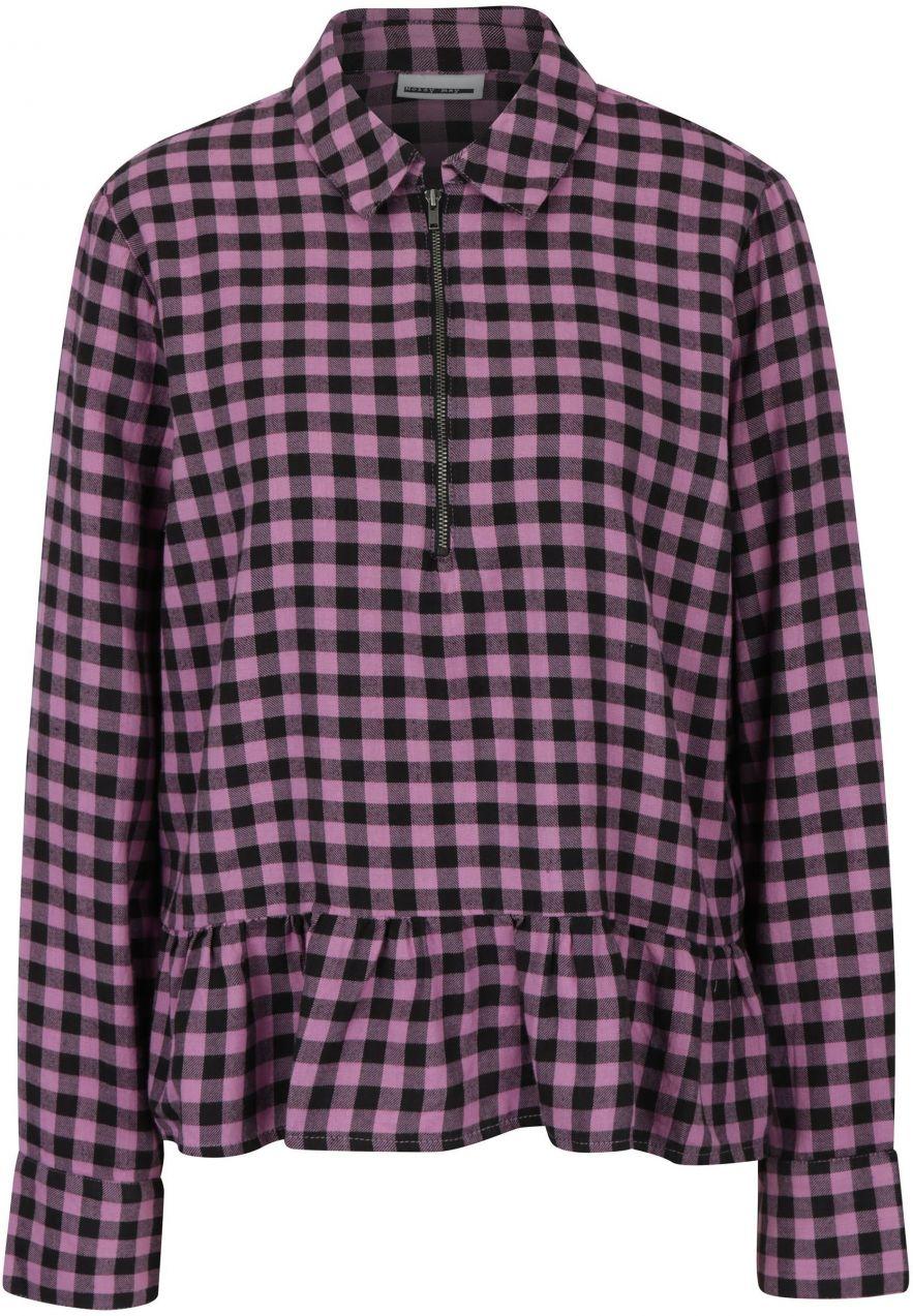 dcb5b9a988d9 Čierno–ružová kockovaná košeľa s volánom Noisy May Erik značky Noisy ...