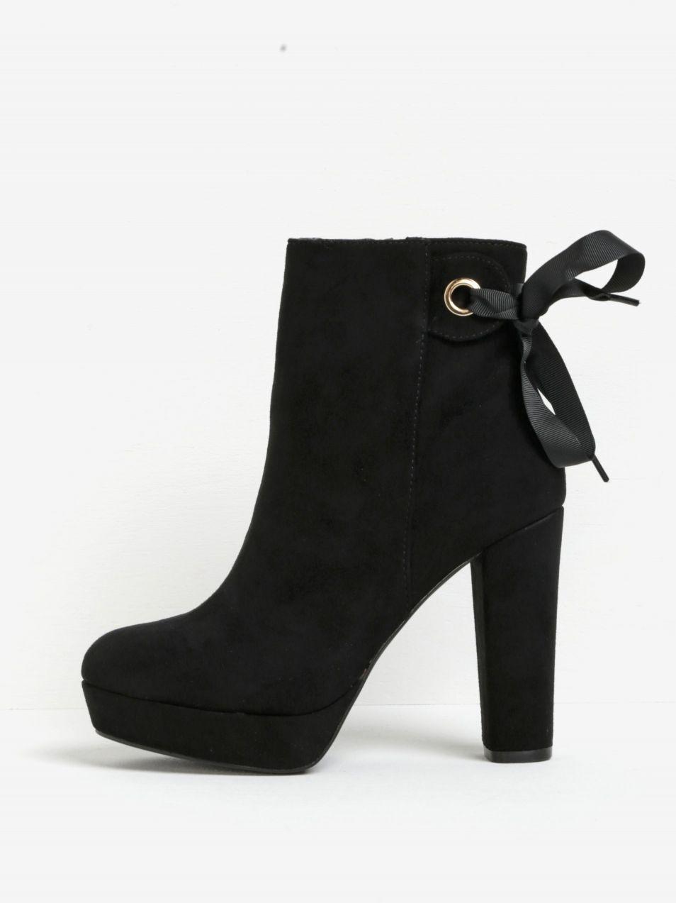 Čierne členkové topánky na podpätku a platforme v semišovej úprave Miss KG  Sheree značky Miss KG - Lovely.sk 1270f7ad007