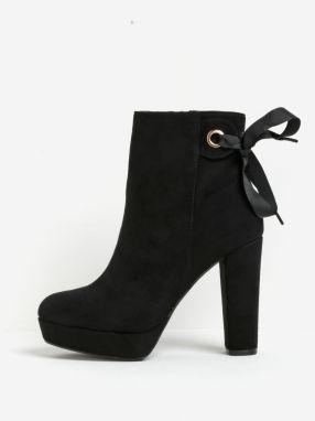b06bc4a1f904a Čierne členkové topánky na podpätku a platforme v semišovej úprave Miss KG  Sheree