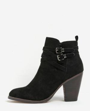 8a00d34d99fc Čierne členkové topánky na podpätku v semišovej úprave Miss KG Spike