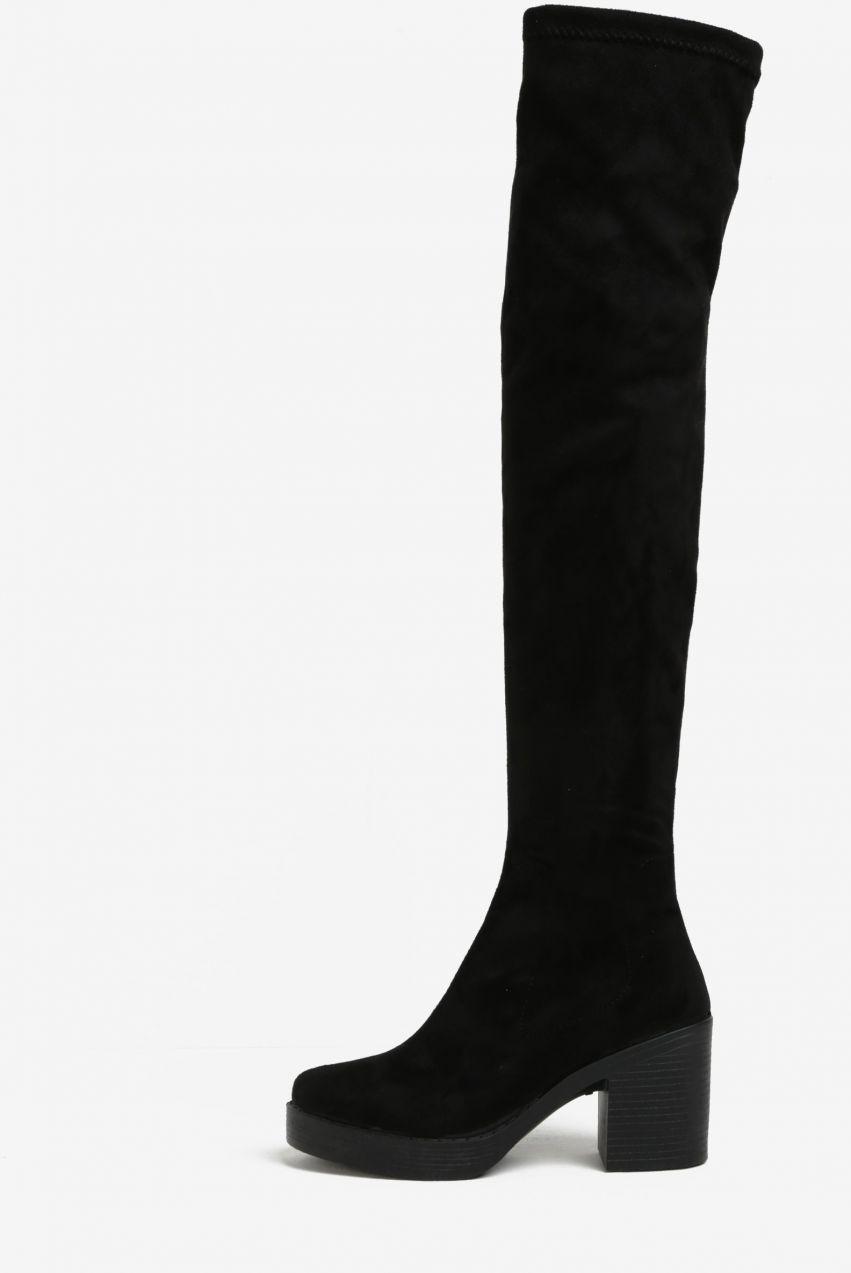 b72e856a51 Čierne vysoké čižmy v semišovej úprave Miss Selfridge značky Miss Selfridge  - Lovely.sk