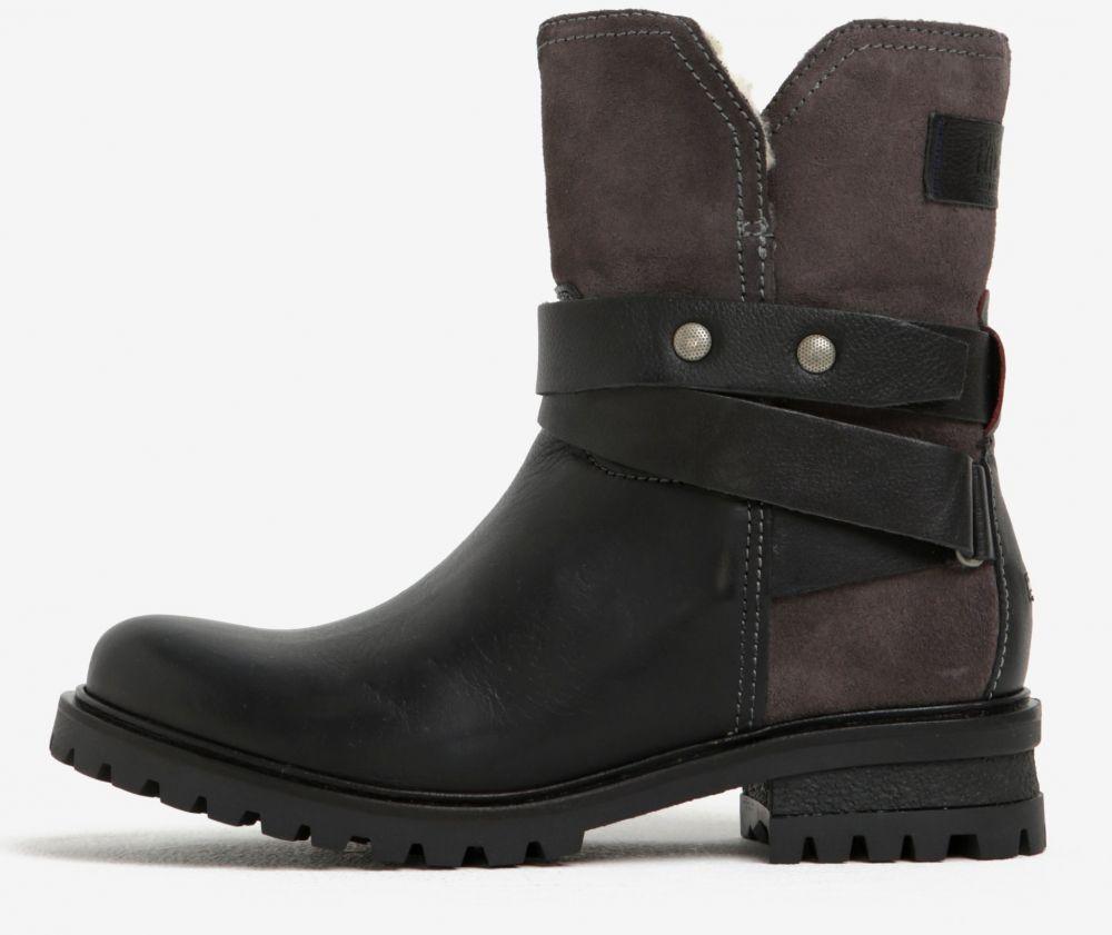 b042cce4fa Čierne dámske kožené členkové topánky s umelým kožúškom Tommy Hilfiger  Corey značky Tommy Hilfiger - Lovely.sk