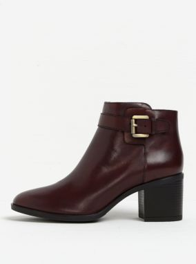 Hnedé dámske kožené členkové topánky s prackou Geox Glynna 5f3c55a18d4