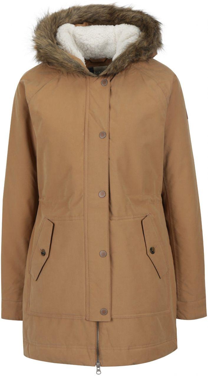 Svetlohnedý dámsky zimný kabát s umelým kožúškom Roxy Mountain značky Roxy  - Lovely.sk ff5c2edbb81