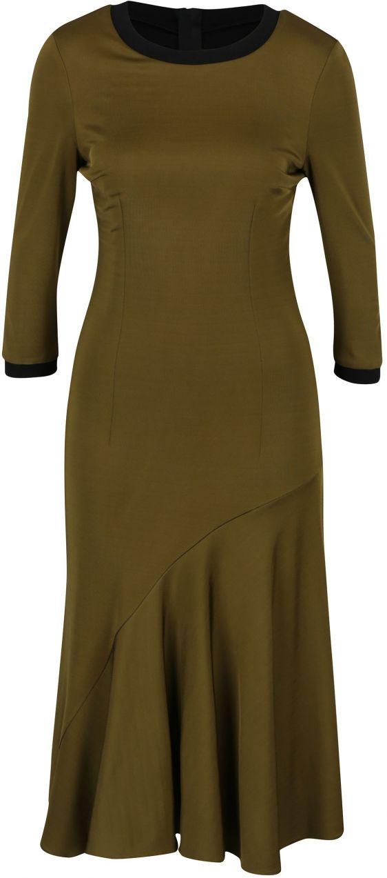 Kaki midi šaty s 3 4 rukávom NISSA značky Nissa - Lovely.sk 6a53c70d077