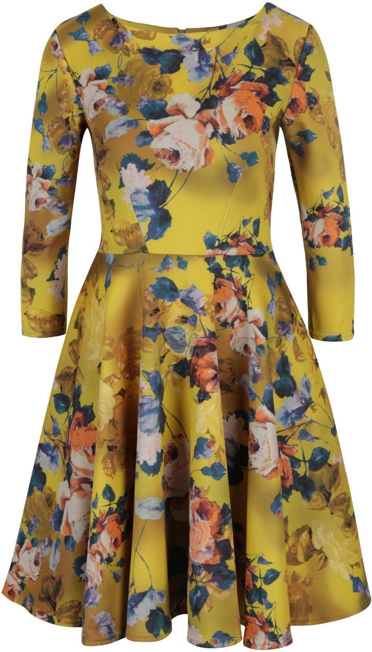 decfda681fd8 Žlté kvetované šaty s okrúhlou sukňou Closet značky Closet - Lovely.sk