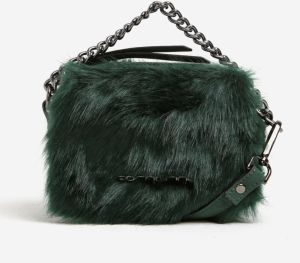 Zelená listová crossbody kabelka s umelou kožušinou a retiazkou Fornarina  Beat 2938ce05fb5
