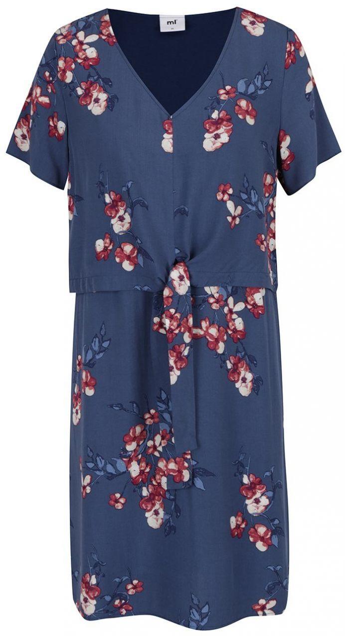 d1107e943552 Tmavomodré kvetované tehotenské dojčiace šaty Mama.licious Fusion značky  Mama.licious - Lovely.sk