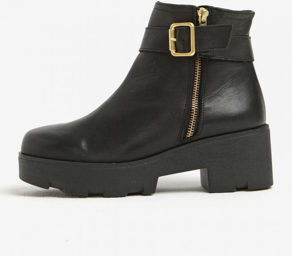 Čierne kožené členkové topánky na platforme OJJU značky OJJU - Lovely.sk 68af87c5cdb