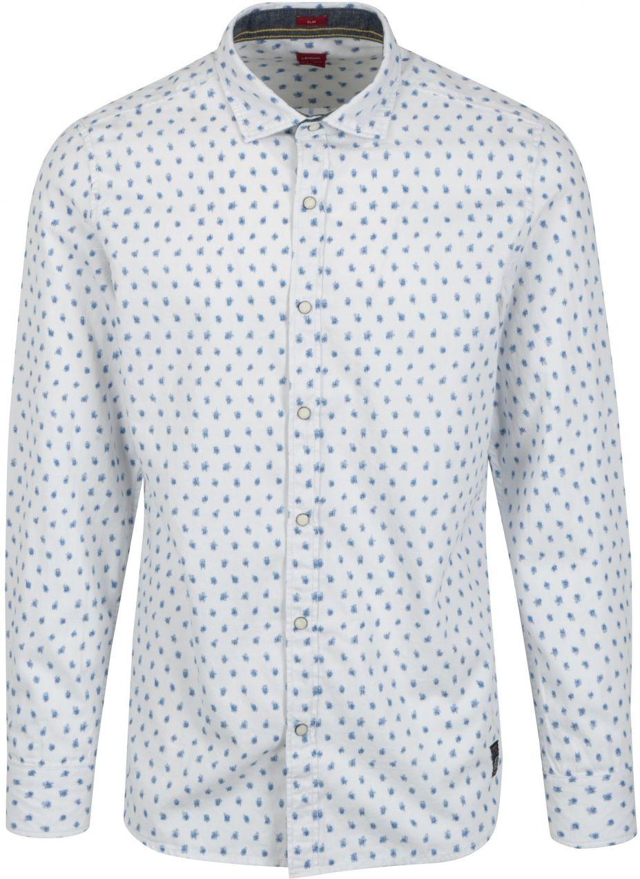 6d3ef2473 Biela pánska vzorovaná slim košeľa s dlhým rukávom s.Oliver značky s.Oliver  - Lovely.sk