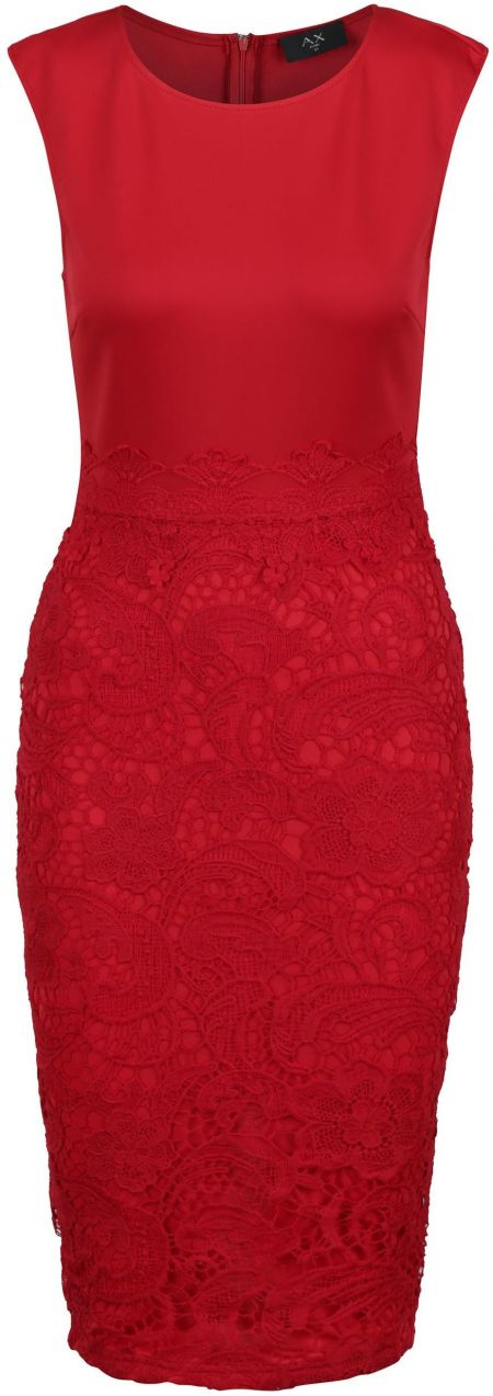 e51d7ba64b33 Červené puzdrové šaty s čipkou AX Paris značky AX Paris - Lovely.sk