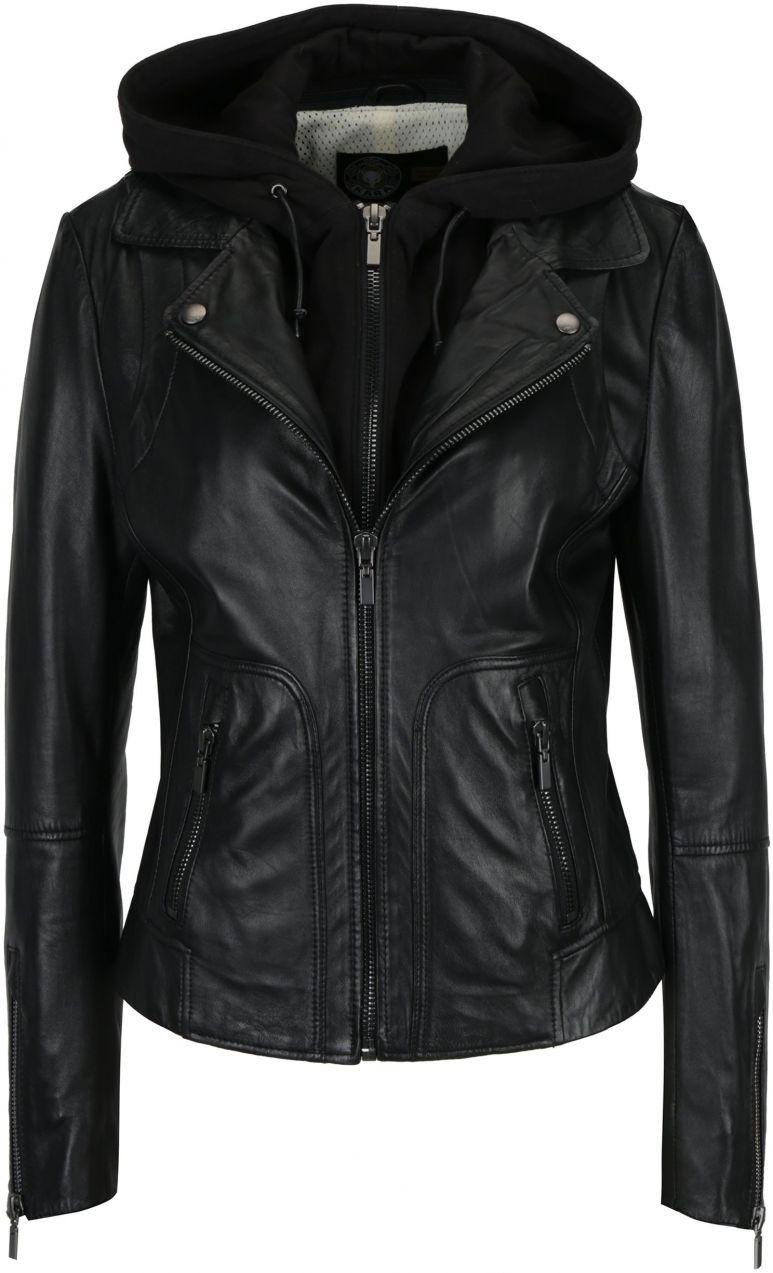 2811d27b4 Čierna dámska kožená bunda s kapucňou KARA Preto značky KARA - Lovely.sk