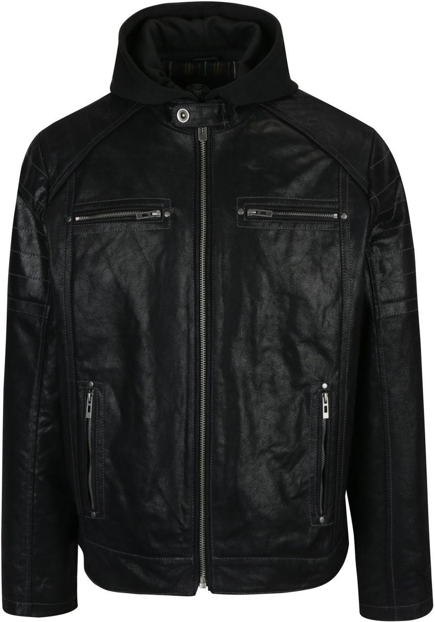 Čierna pánska kožená bunda s kapucňou KARA Dorian značky KARA - Lovely.sk 607ab6d0332