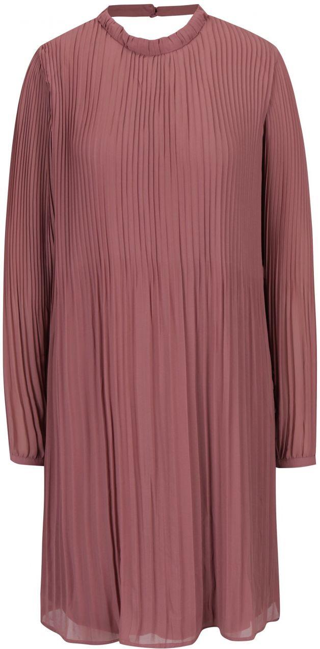 Staroružové plisované šaty s prestrihom na chrbte VILA Slet značky VILA -  Lovely.sk 923c74acaf8