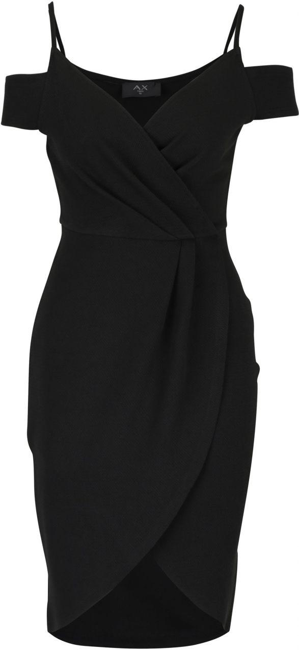 Čierne puzdrové prekladané šaty s odhalenými ramenami AX Paris značky AX  Paris - Lovely.sk 837fe58ffc1