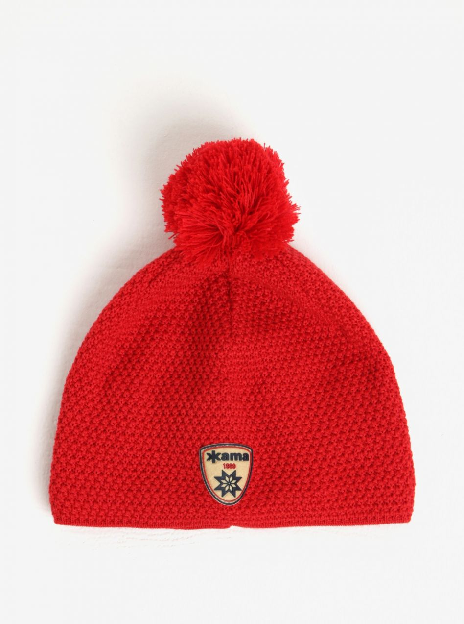 2a0c41f56 Červená dámska vlnená zimná čiapka s brmbolcom Kama značky Kama - Lovely.sk