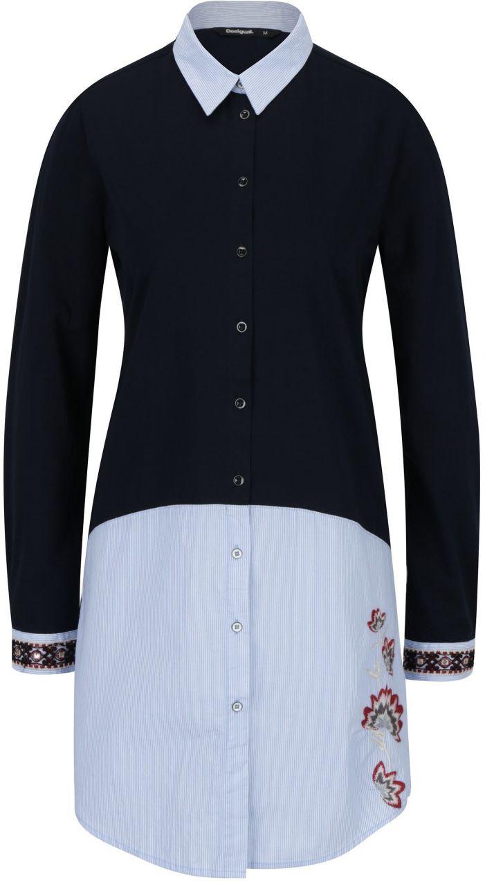 acc76edcea52 Tmavomodrá dlhá košeľa s výšivkou Desigual Gladys značky Desigual -  Lovely.sk