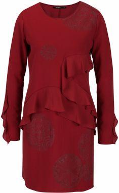 Vínové šaty s potlačou a volánmi Desigual Flopo 3465a738656