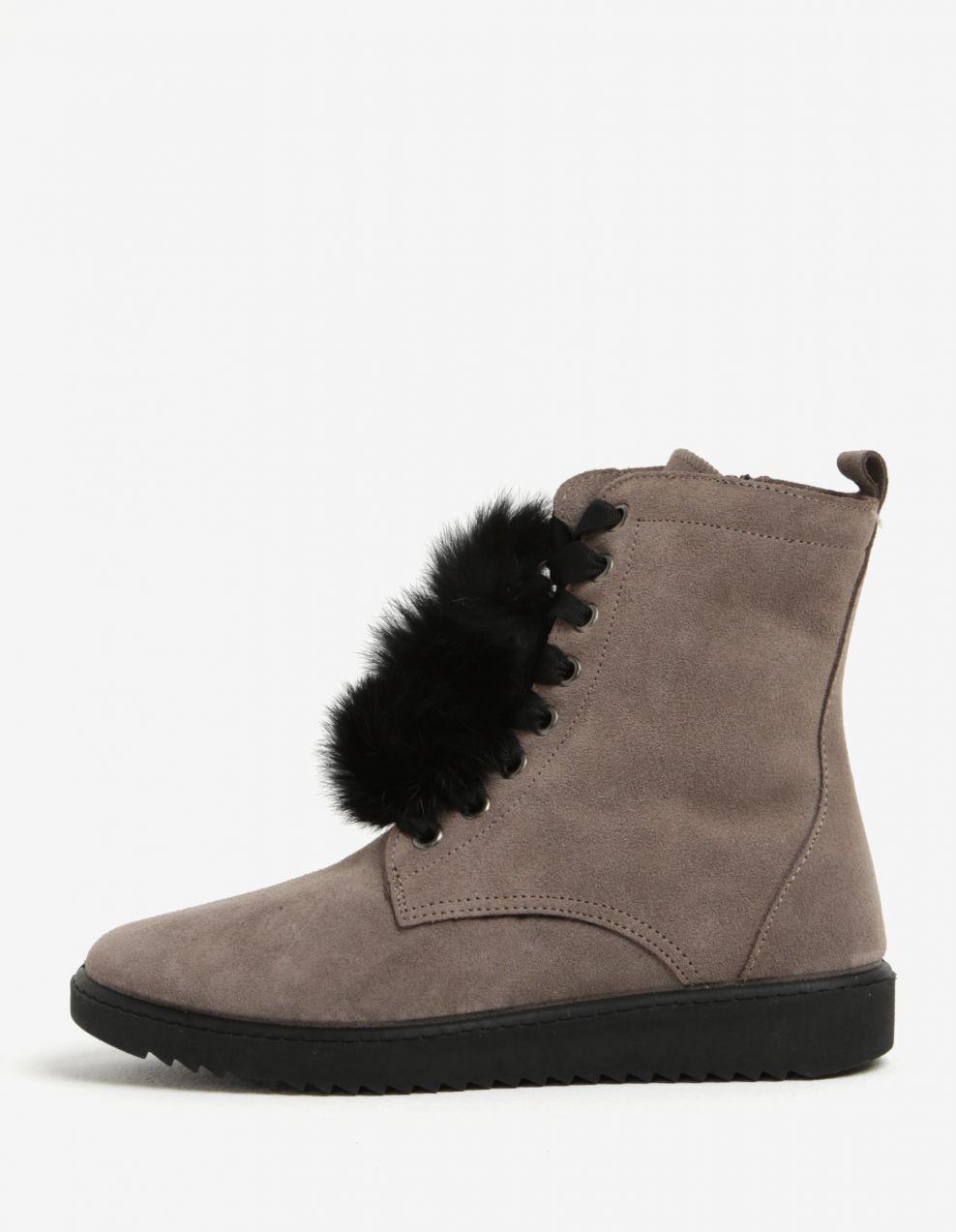 Sivé semišové členkové topánky s brmbolcami OJJU značky OJJU - Lovely.sk 121d58be385