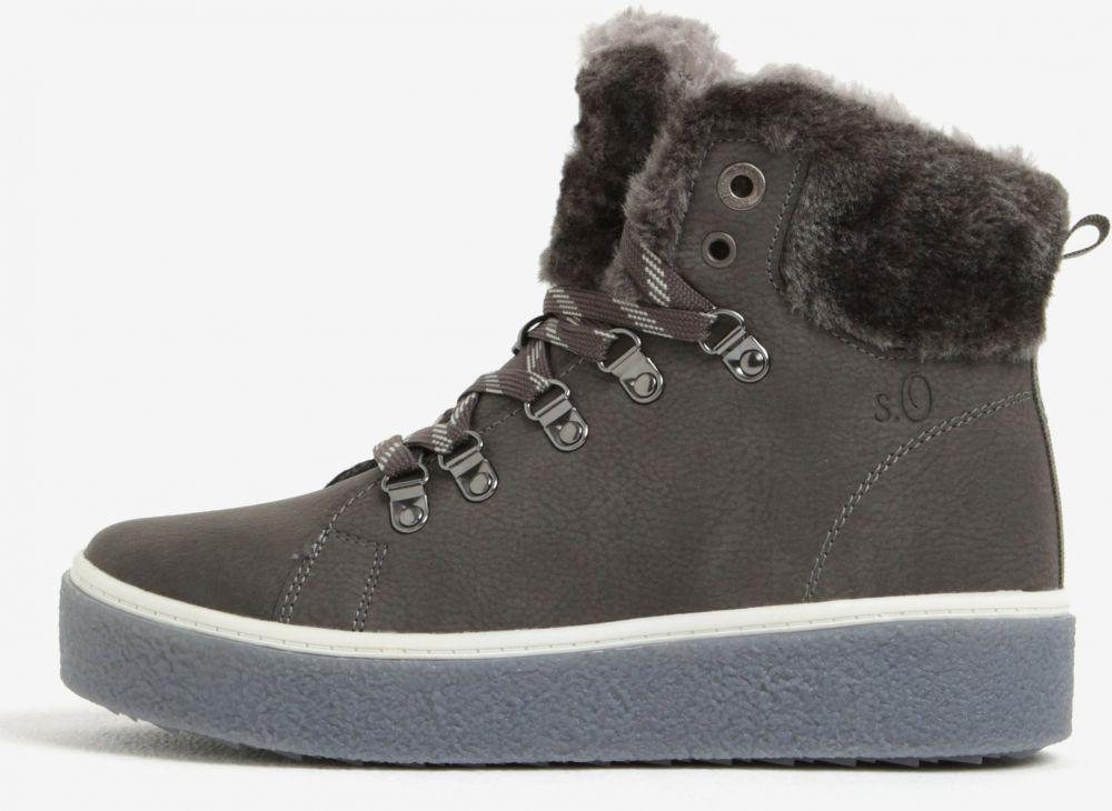 Tmavosivé dámske členkové zimné topánky na platforme s.Oliver značky  s.Oliver - Lovely.sk 0930bfb4b1e