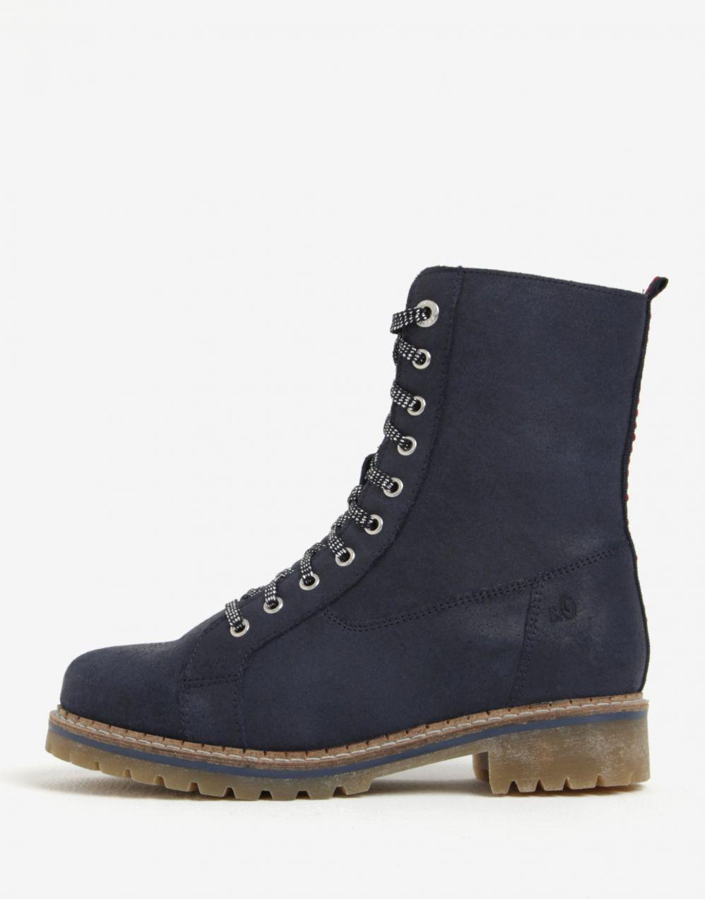 612790d286771 Tmavomodré dámske kožené zimné členkové topánky s.Oliver značky s.Oliver -  Lovely.sk